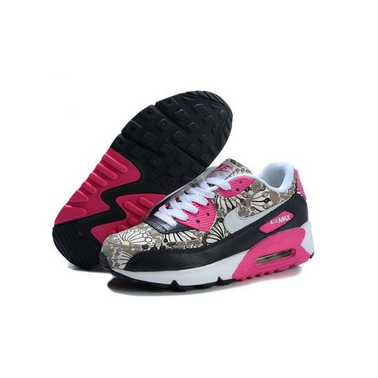 dc539f1899 Nike Air Max 90 Flowers Women Pink Black Running Shoes Low Cost ...