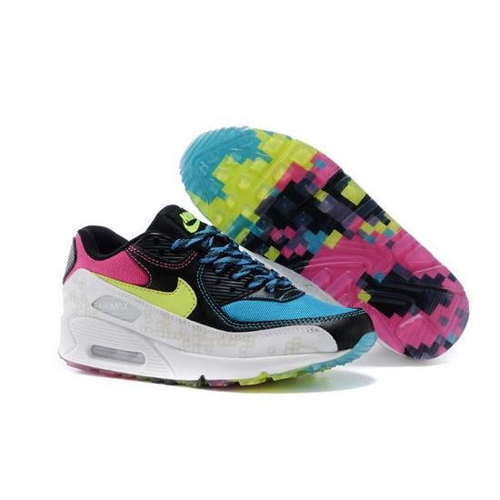 26004aabca542 Nike Air Max 90 Womens Shoes Colcred Black Blue White Hot New Closeout