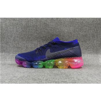 Nike flyknit Air VaporMax 2018 Women's Dark blue Rainbow