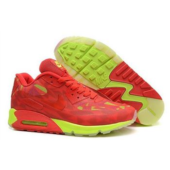 timeless design 7e300 92d1f Nike Air Max 90 Hyperfuse Prm 2014 25 Anniversary Mens Shoes Red Green New
