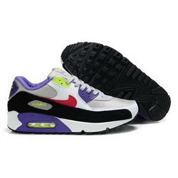 Nike Air Max 90 Mens Shoes White Purple Red Black Volt Discount
