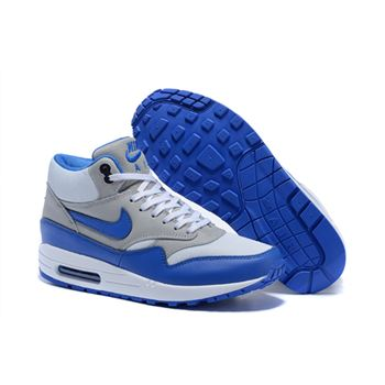 Cheap Price Women's Nike Air Max 1 Mid FB Boots Grey/Royal Blue 685192-004 On Clearance