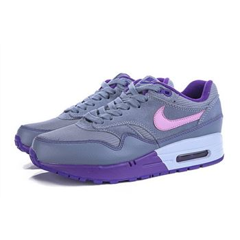 Buy Online Women's Nike Air Max 1 Running Shoes Grey/Purple/Pink 319986-028 Cheap Sale