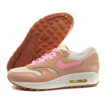 Online Cheap Women's Nike Air Max 1 Running Shoes Dusted Clay/Pink 454746-201 Wholesale
